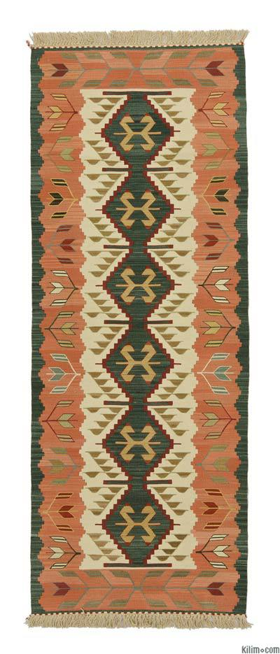 Green, Orange New Turkish Kilim Runner Rug