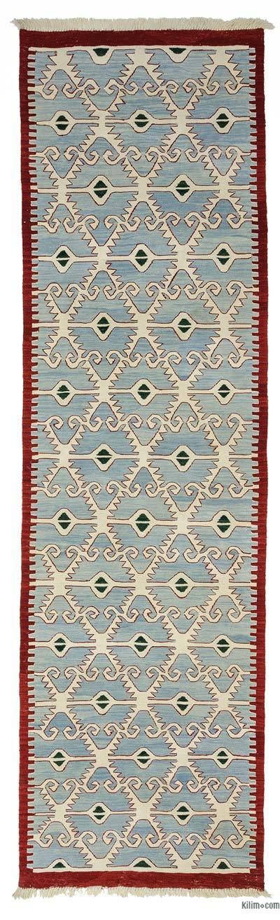 Light Blue New Turkish Kilim Runner Rug