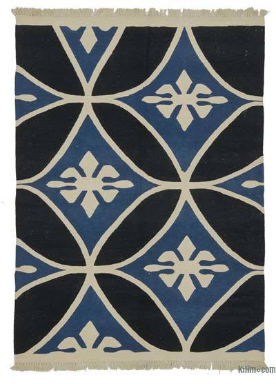 Black, Blue New Turkish Kilim Rug