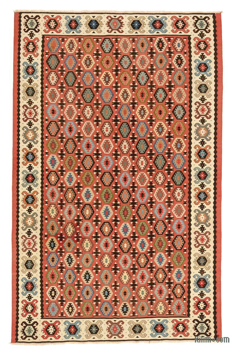 K0008774 Red Vintage Sharkoy Kilim Rug 5 1 X 7 10