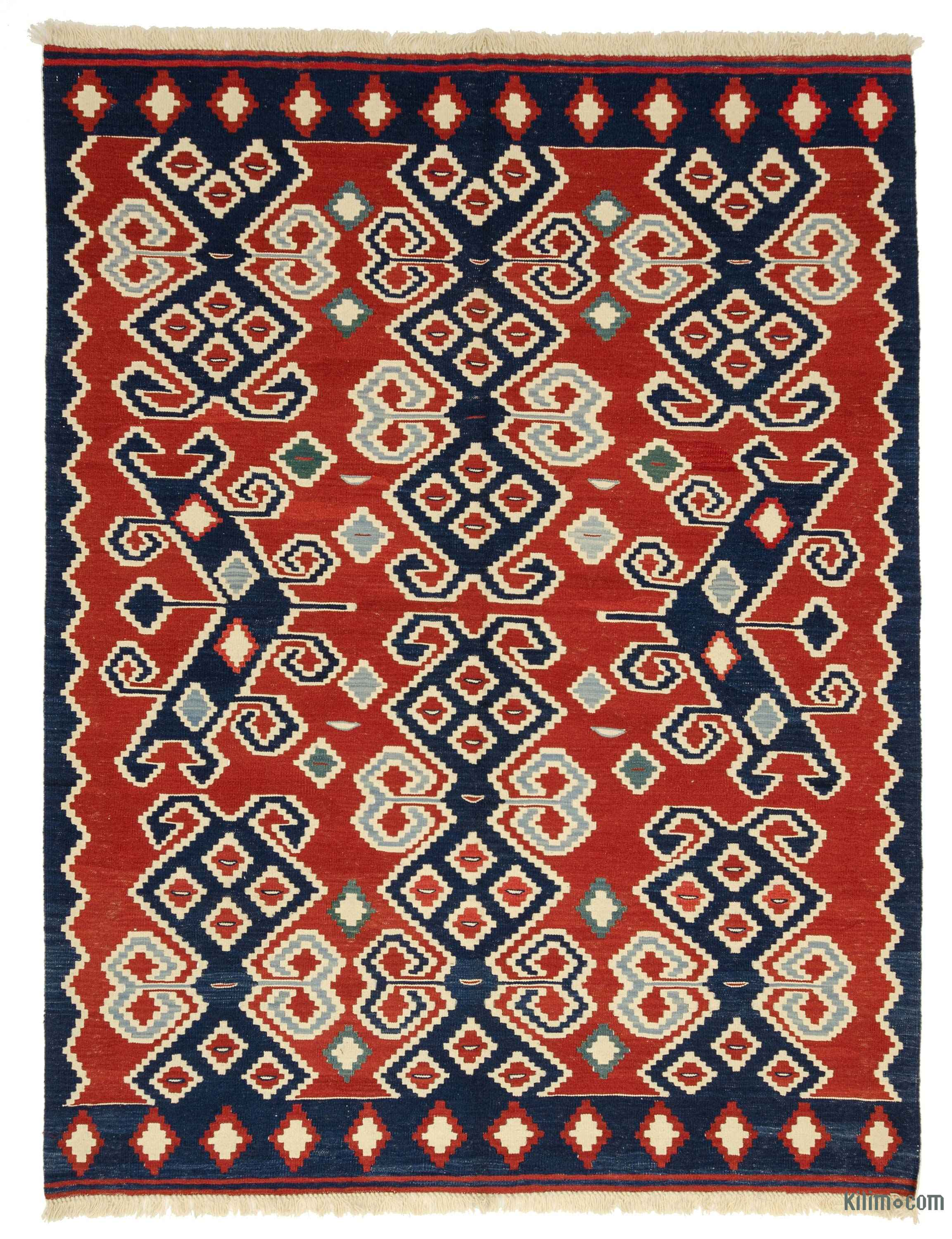 K0008836 Red New Turkish Kilim Rug : Kilim Rugs, Overdyed Vintage Rugs, Hand-made Turkish Rugs ...