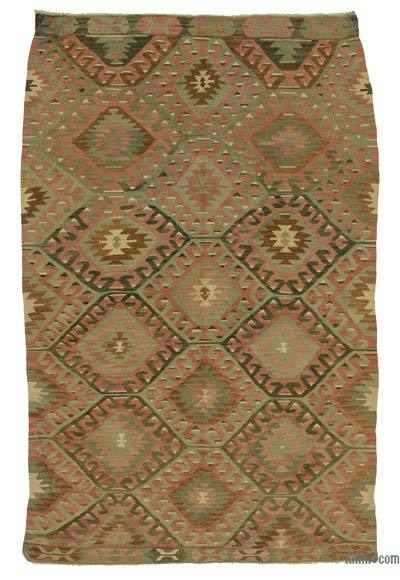 Red, Green Vintage Esme Kilim Rug - 4'6'' x 7' (54 in. x 84 in.)