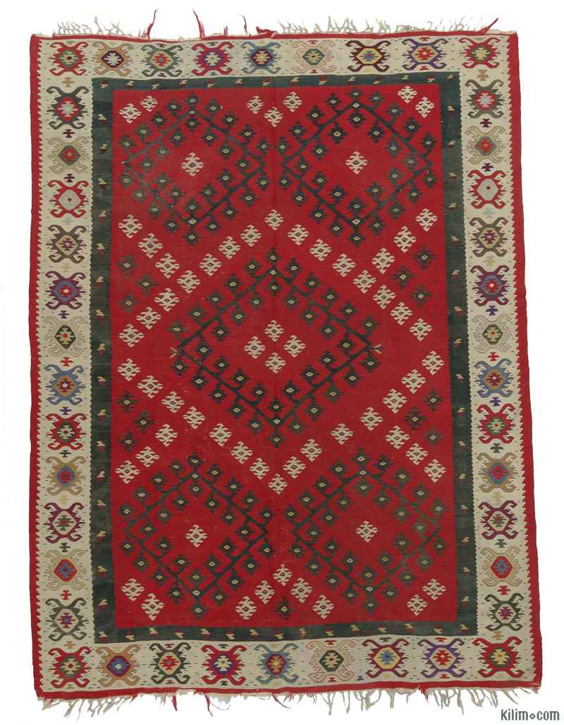 K0009012 Red Antique Sharkoy Kilim Rug