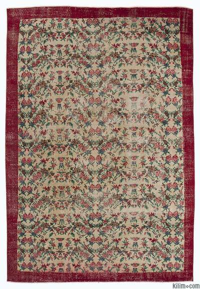 Red Turkish Vintage Rug - 7' x 10'4'' (84 in. x 124 in.)