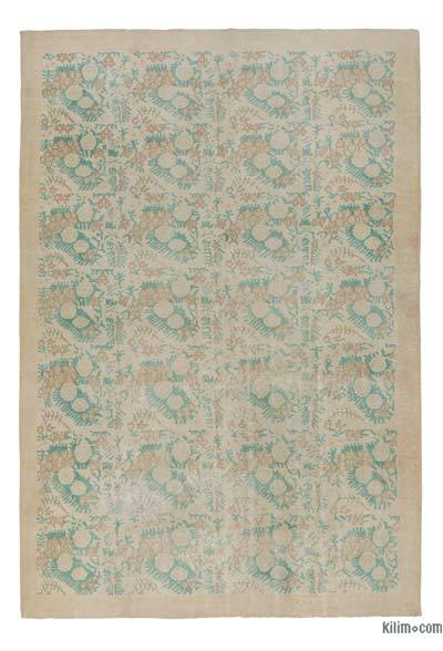 Beige Turkish Vintage Area Rug - 7'2'' x 10'7'' (86 in. x 127 in.)