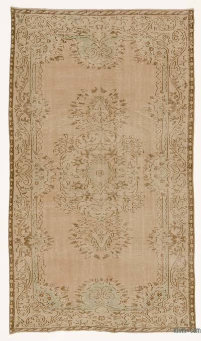 Beige Over-dyed Turkish Vintage Rug - 4'11'' x 8'8'' (59 in. x 104 in.)