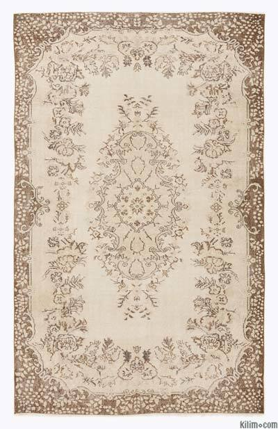 Beige Over-dyed Turkish Vintage Rug - 6'4'' x 9'10'' (76 in. x 118 in.)