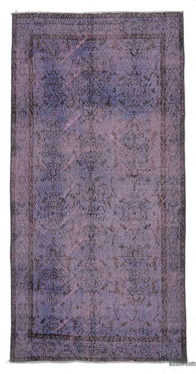 Purple Over-dyed Turkish Vintage Rug - 3'7'' x 7'5'' (43 in. x 89 in.)