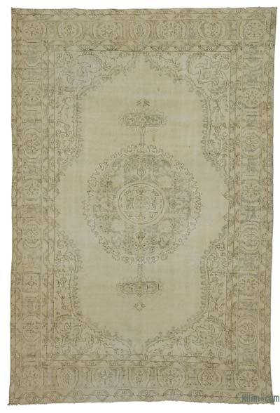 Beige Over-dyed Turkish Vintage Rug - 6'7'' x 9'11'' (79 in. x 119 in.)