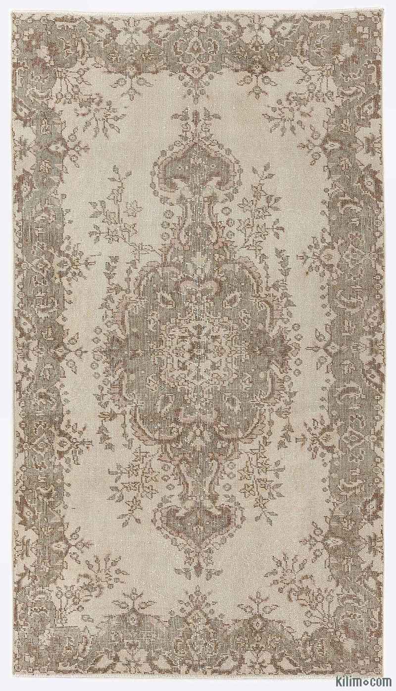 K0009381 Beige Over Dyed Turkish Vintage Rug 3 9 X 6 8