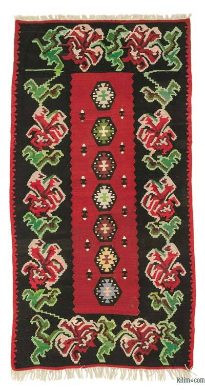 Black, Red Vintage Moldovan Kilim Rug - 2'8'' x 5'2'' (32 in. x 62 in.)