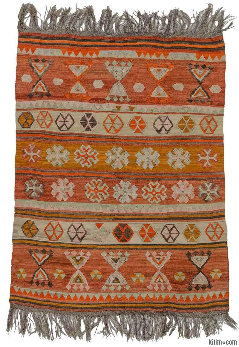 K0009708 Orange Red Vintage Ordu Kilim Rug 5 3 X 6 10