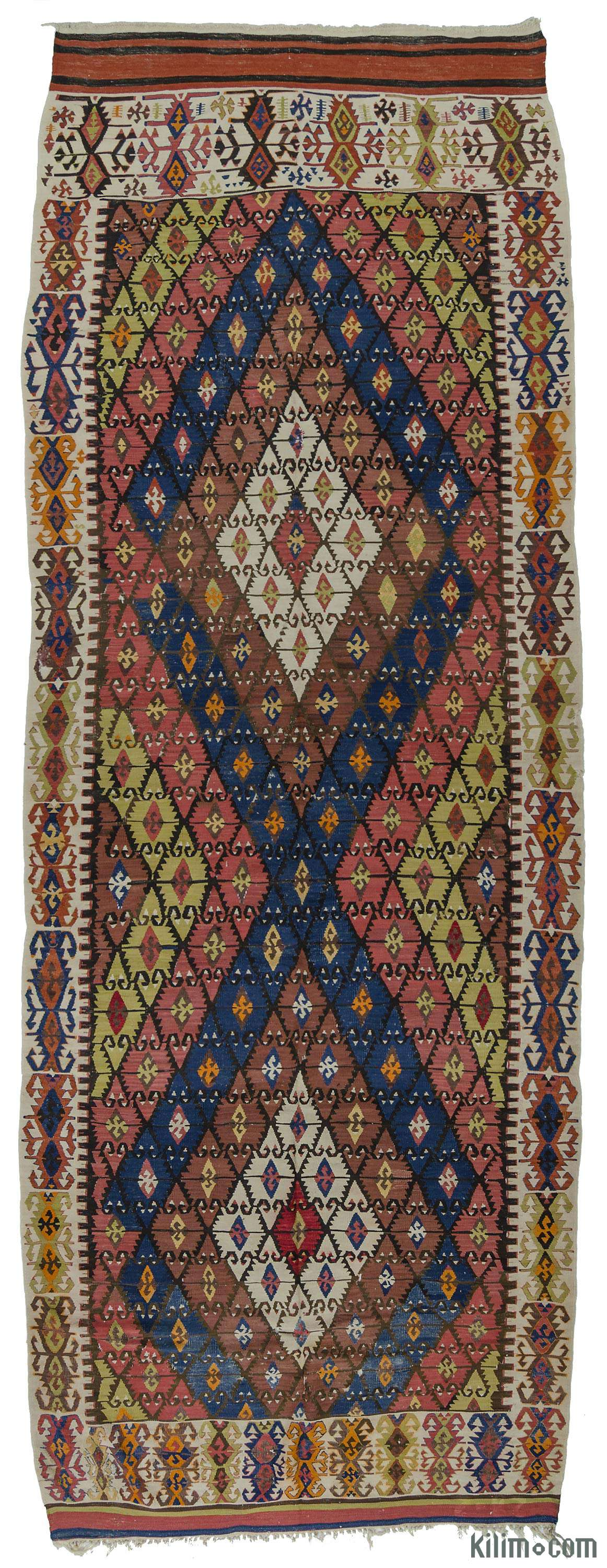 K0009715 Multicolor Blue Antique Sivrihisar Kilim Rug