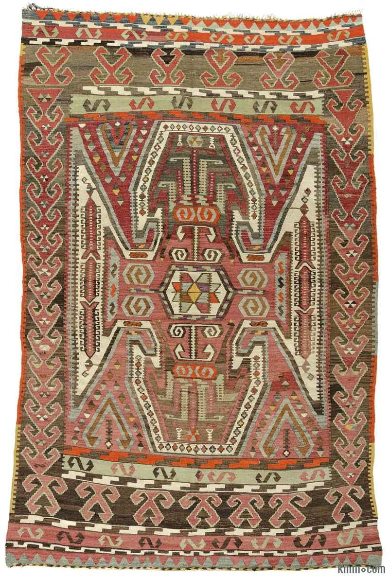 K0009717 Red Vintage Corum Kilim Rug 5 2 X 7 8 62