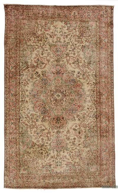 Turkish Vintage Area Rug - 5'2'' x 8'8'' (62 in. x 104 in.)