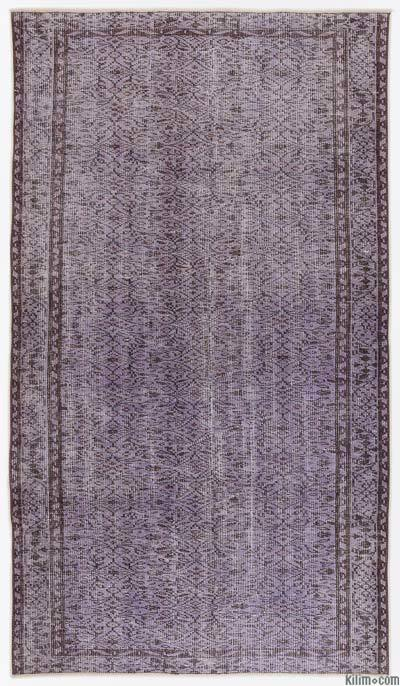 Purple Over-dyed Turkish Vintage Rug - 5'2'' x 9'1'' (62 in. x 109 in.)