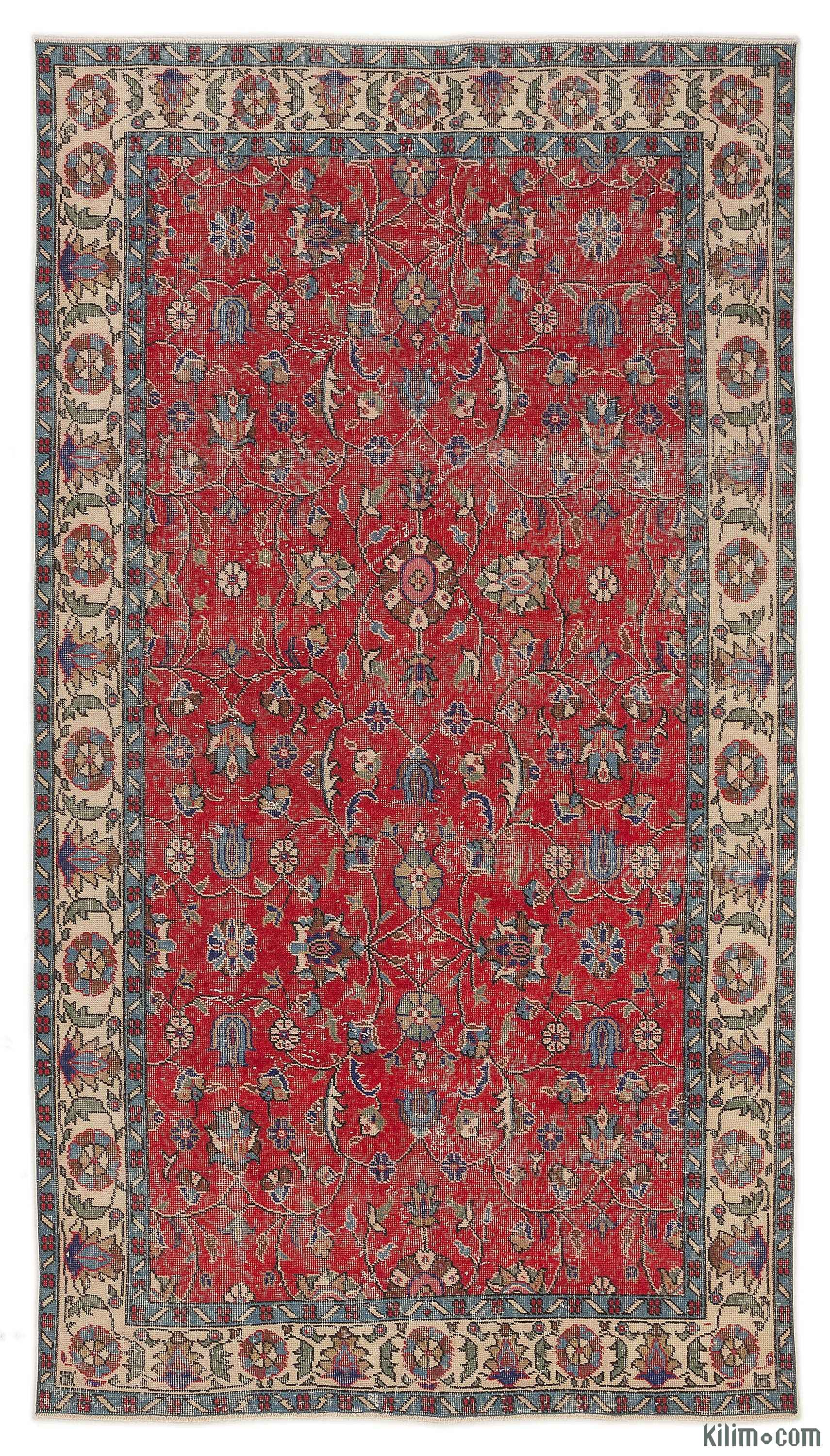 K0009916 Red Turkish Vintage Area Rug 5 X 9 1 60 In