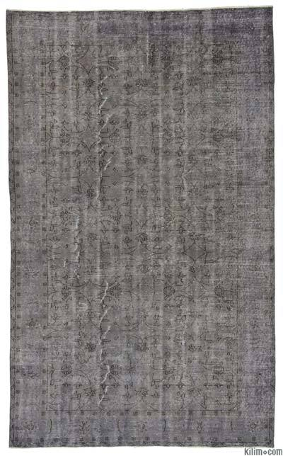 Grey Over-dyed Turkish Vintage Rug - 5'6'' x 9' (66 in. x 108 in.)