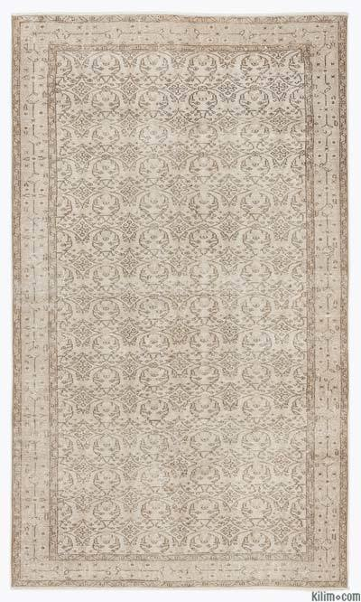 Beige Over-dyed Turkish Vintage Rug - 5'5'' x 9'2'' (65 in. x 110 in.)