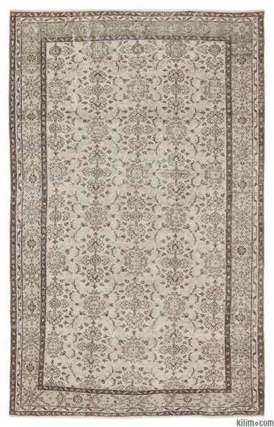 Beige Over-dyed Turkish Vintage Rug - 6'2'' x 9'7'' (74 in. x 115 in.)