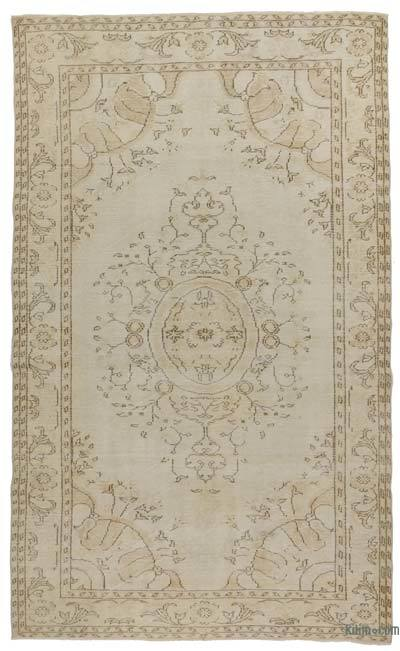 Beige Over-dyed Turkish Vintage Rug - 6' x 10' (72 in. x 120 in.)