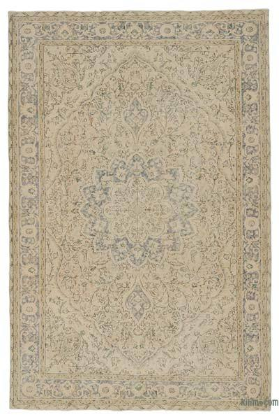 Beige Over-dyed Turkish Vintage Rug - 6'5'' x 9'10'' (77 in. x 118 in.)