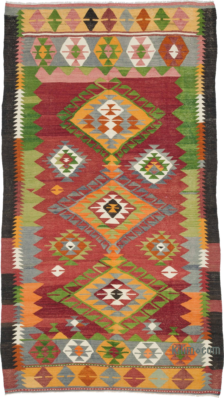 K0010246 Red Green Vintage Afyon Kilim Rug 4 11 Quot X 8 10