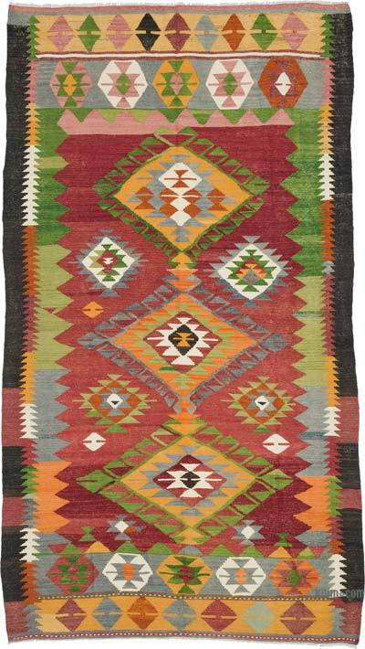 Red, Green Vintage Afyon Kilim Rug - 4'11'' x 8'10'' (59 in. x 106 in.)