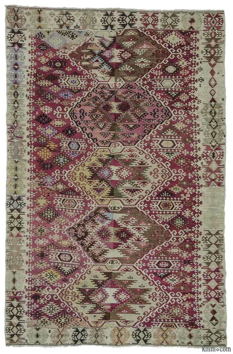 K0010254 Red Green Antique Reyhanli Kilim Rug