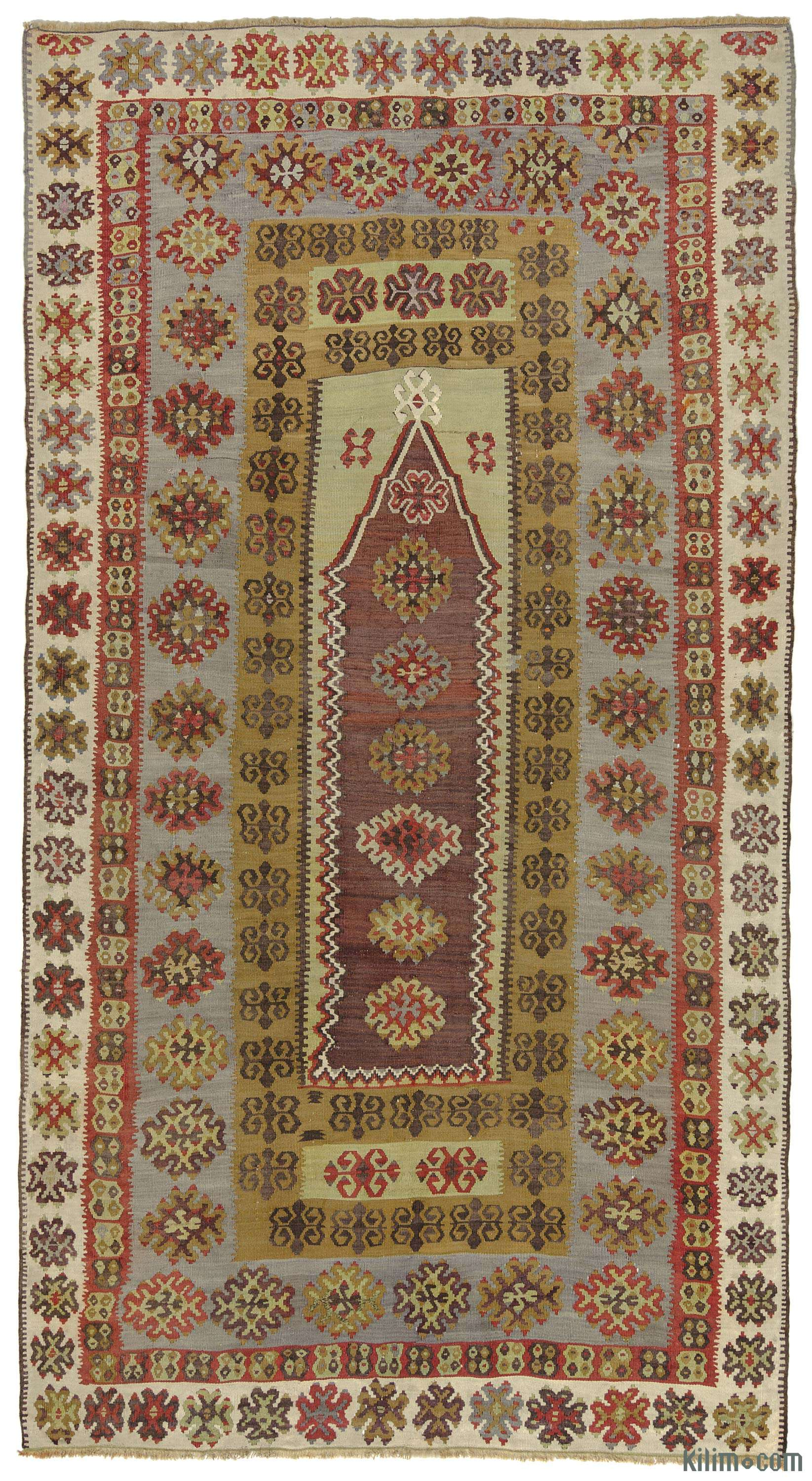 k0010263 purple, green antique yahyali kilim rug | kilim rugs