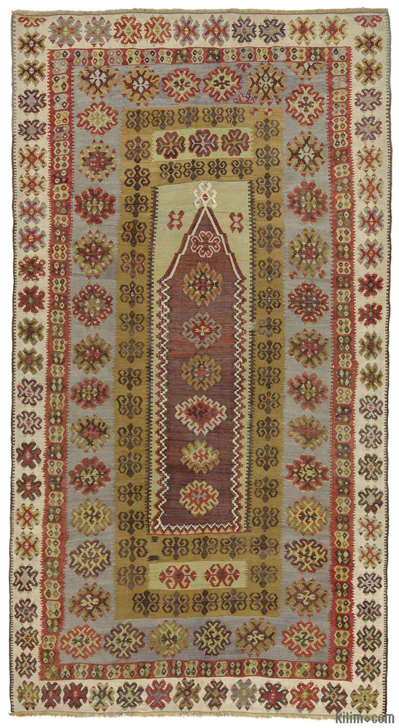 K0010263 Purple Green Antique Yahyali Kilim Rug