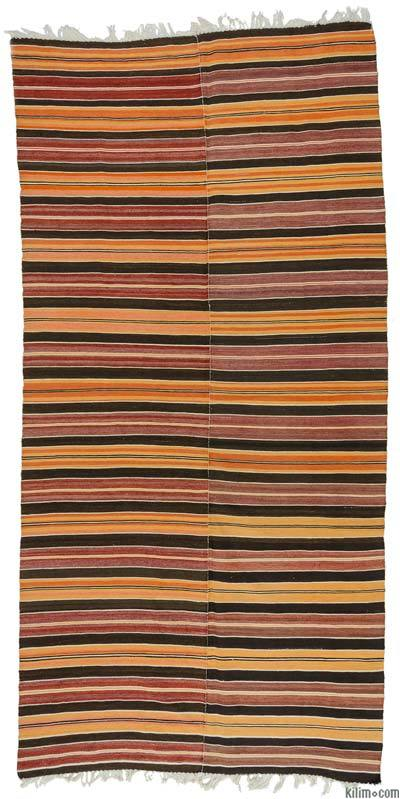 Orange, Red Vintage Turkish Kilim Rug - 4'7'' x 9'3'' (55 in. x 111 in.)
