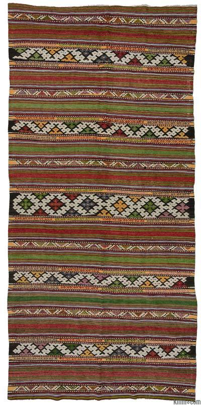Red, Green Vintage Balikesir Kilim Rug - 5'3'' x 11' (63 in. x 132 in.)