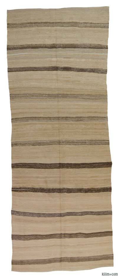 Beige, Brown Vintage Turkish Kilim Runner - 4' x 10'3'' (48 in. x 123 in.)