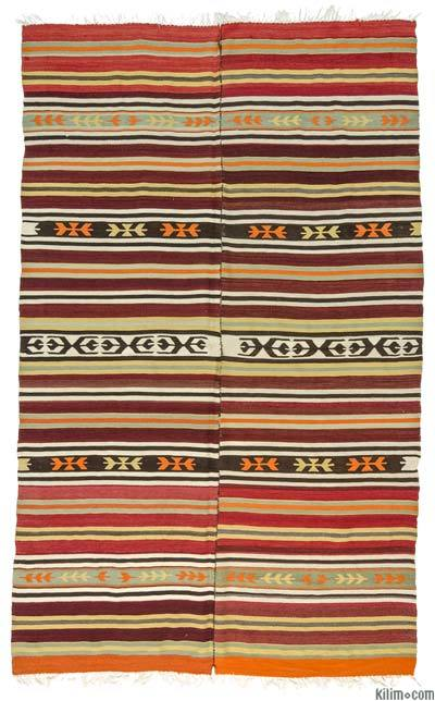 Red, Green Vintage Mut Kilim Rug - 5'4'' x 8'6'' (64 in. x 102 in.)