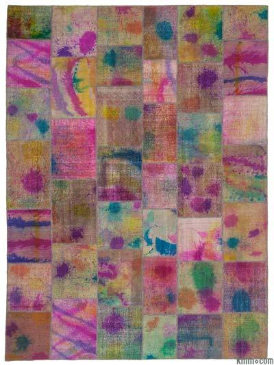 Over-dyed Turkish Patchwork Rug - 9'11'' x 13'5'' (119 in. x 161 in.)