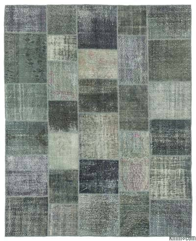Grey Over-dyed Turkish Patchwork Rug - 8' x 10' (96 in. x 120 in.)