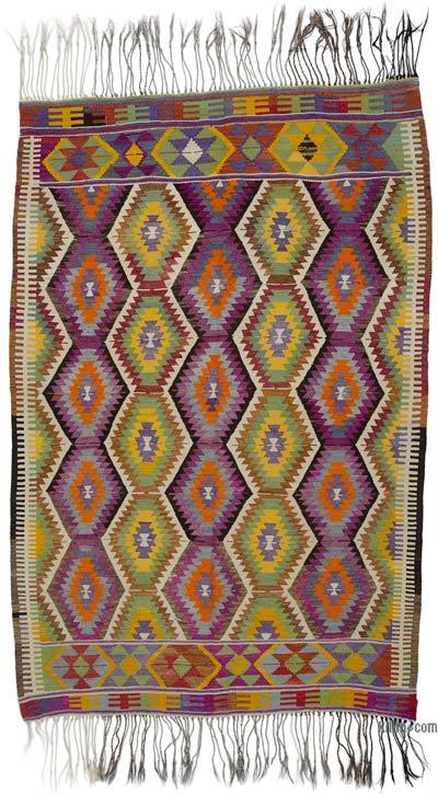 Green, Purple Vintage Antalya Kilim Rug - 5'3'' x 7'11'' (63 in. x 95 in.)