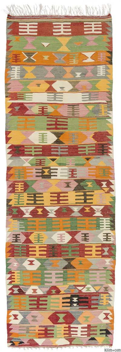 Multicolor Vintage Afyon Kilim Runner - 2'11'' x 9' (35 in. x 108 in.)