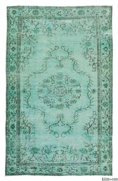 Turquoise Hand Carved Over-Dyed Rug - 5'8'' x 8'9'' (68 in. x 105 in.)