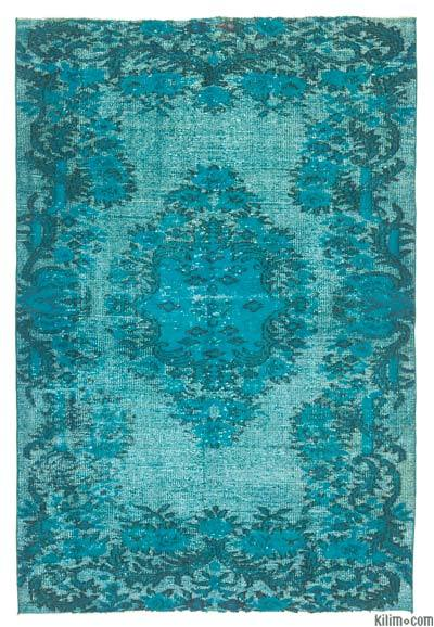 Turquoise Hand Carved Over-Dyed Rug - 5'1'' x 7'6'' (61 in. x 90 in.)