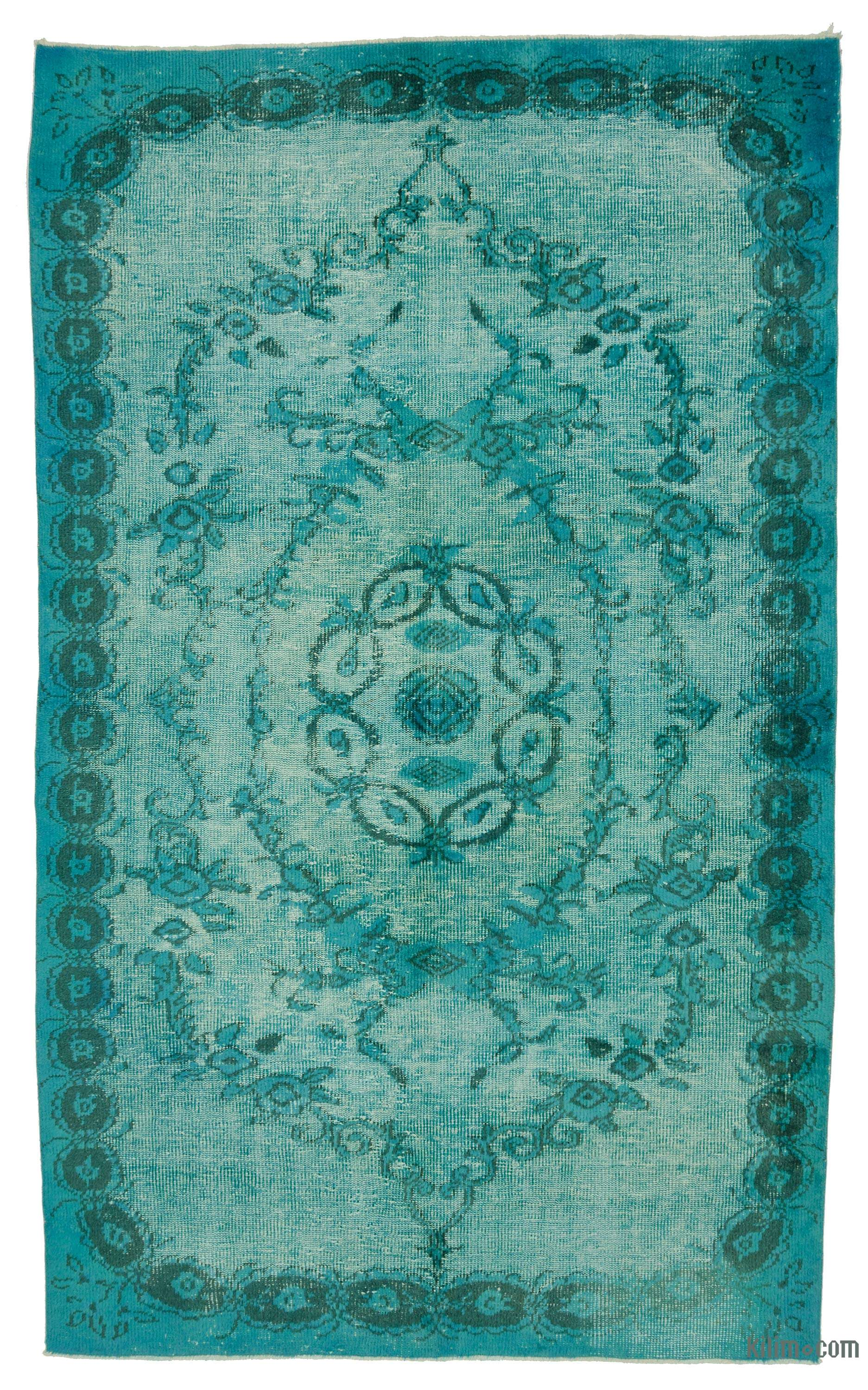 K0010643 Turquoise Hand Carved Over Dyed Rug 5 2 Quot X 8 9