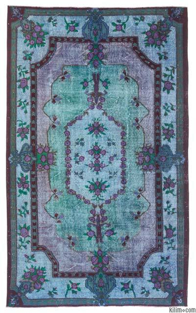 Multicolor Hand Carved Over-Dyed Rug - 5'11'' x 9'10'' (71 in. x 118 in.)