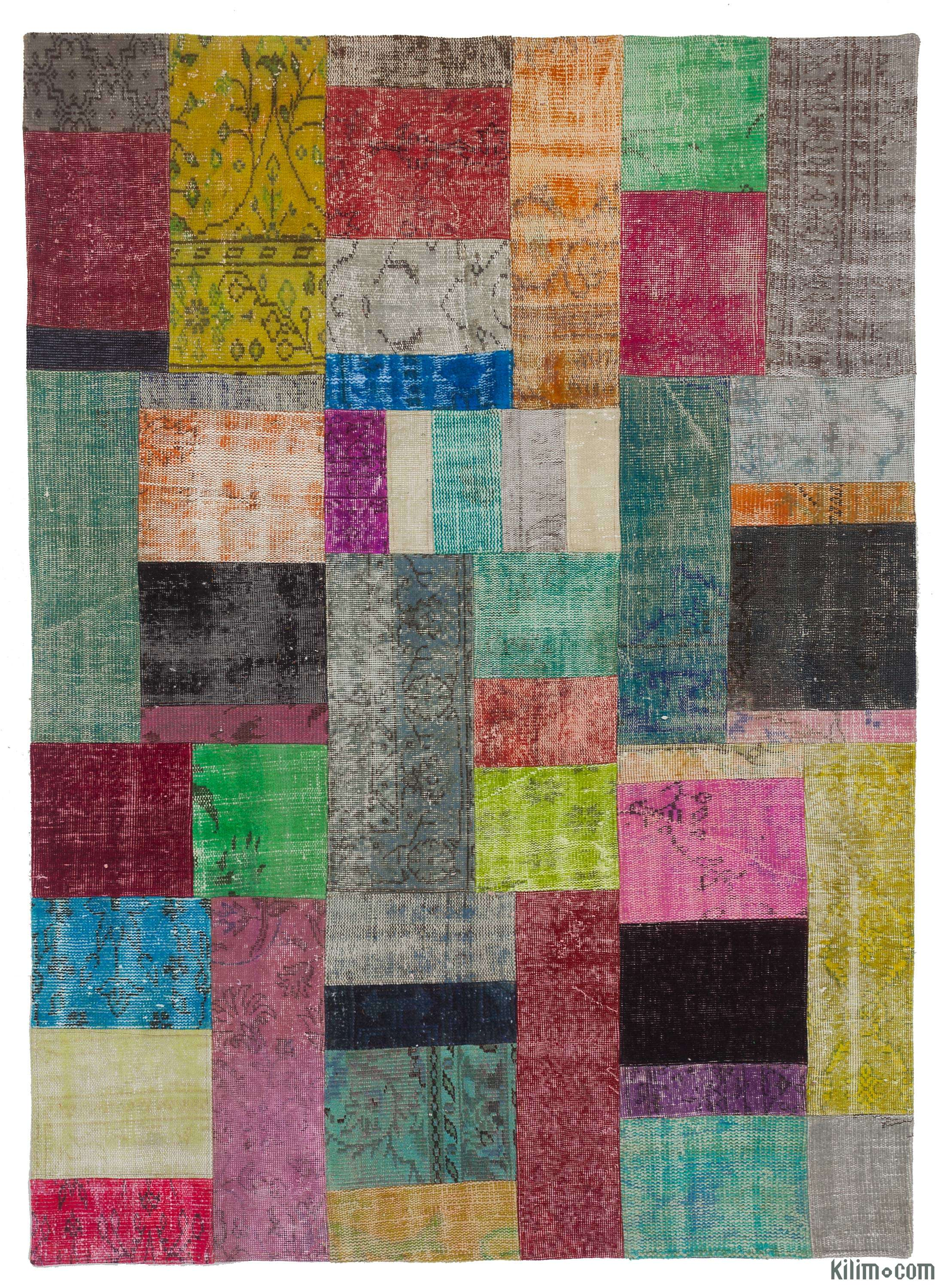 K0010665 Multicolor Over Dyed Turkish Patchwork Rug 5 8