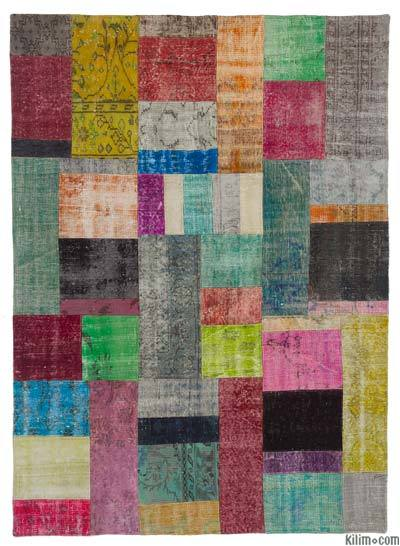 Over-dyed Turkish Patchwork Rug - 5'8'' x 7'10'' (68 in. x 94 in.)