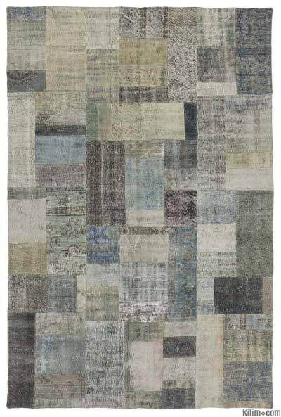 "Over-dyed Turkish Patchwork Rug - 6'7"" x 9'10"" (79 in. x 118 in.)"