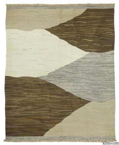 Brown, Beige Old Yarn Kilim Rug