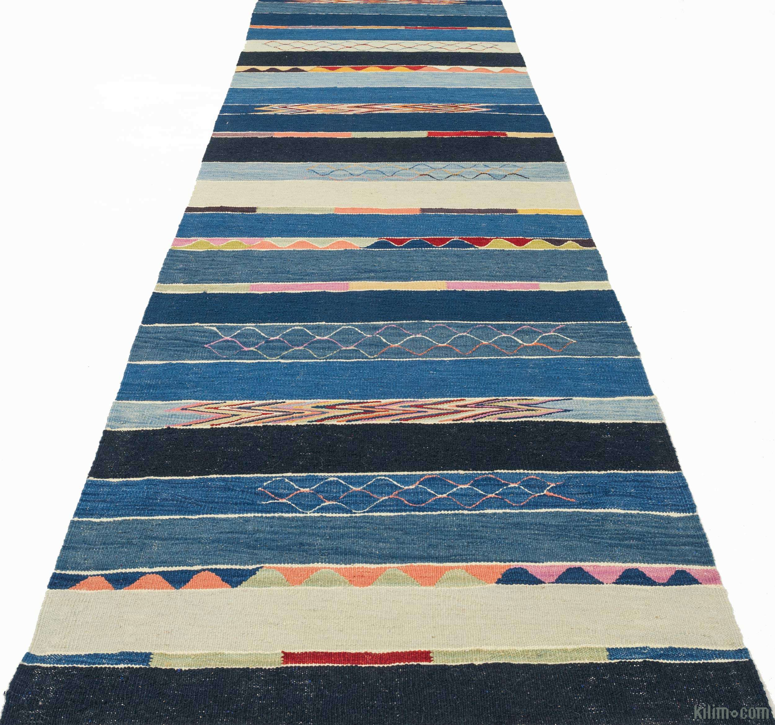 K0010791 Light Blue, Blue New Turkish Kilim Runner Rug