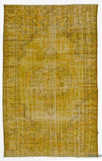 Yellow Over-dyed Turkish Vintage Rug - 5'9'' x 9'7'' (69 in. x 115 in.)