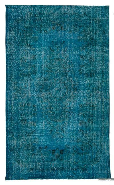 Turquoise Over-dyed Turkish Vintage Rug - 5'7'' x 9'1'' (67 in. x 109 in.)